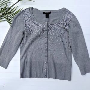 WHBM Gray Cardigan with Silver Applique
